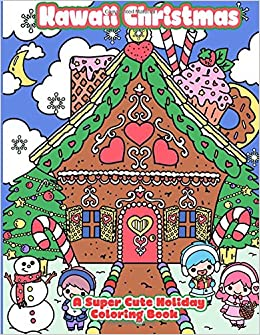 amazoncom kawaii christmas a super cute holiday coloring book kawaii manga and anime coloring books for adults teens and tweens volume 6