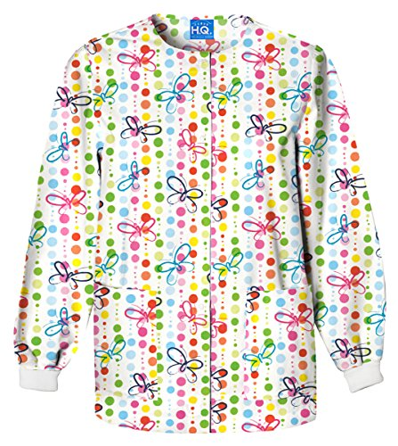 Cherokee Scrub H.Q Women's Crew Neck Butterfly Dots Print Jacket Large Print