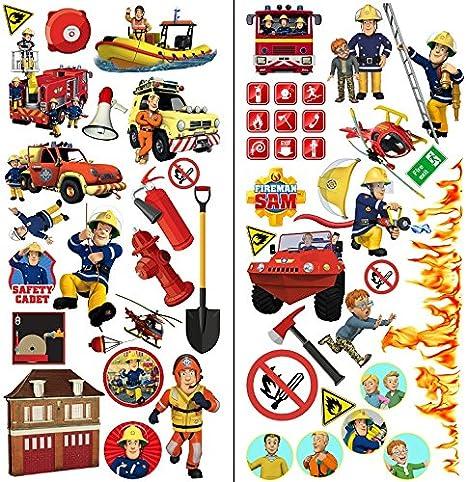Personnalisé Fireman Sam Enfants Mur Art Autocollant-Enfants Chambre À Coucher//Salle de jeux