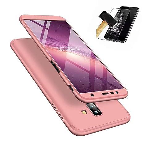 Funda Samsung Galaxy J6 Plus 2018, Carcasa Samsung Galaxy J6 Plus 2018 con [ Cristal Templado] 3 en 1 Desmontable 360 Grados Anti-Arañazos Protectora ...