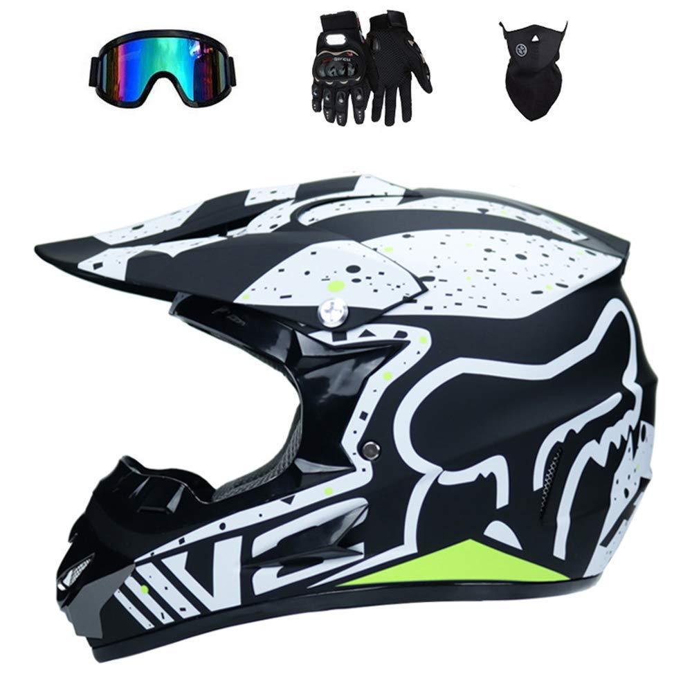 WenYan Motos Motocross Cascos y Guantes y Gafas est/ándar para ni/ños ATV Quad Bicicleta go Casco de Kart