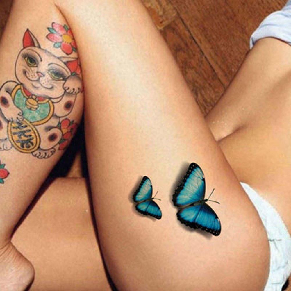 TAFLY 5Sheets Temporary Tattoo Stickers Removable Sexy Body Art Blue Flower Butterfly Letters