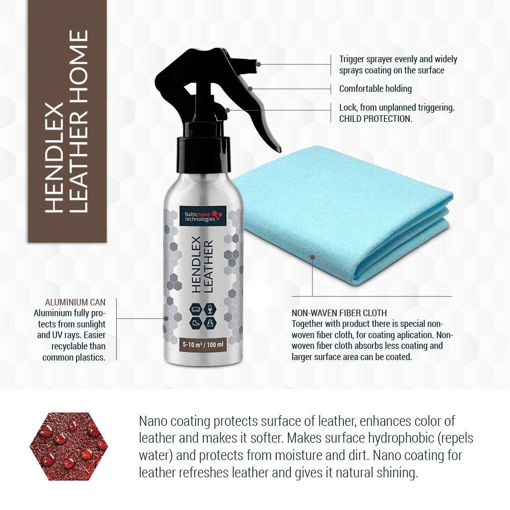 Leather Waterproof Protector Nano Coating Hendlex 100ml | Shoe Boot and Car Leather Seats Treatment Restores Color Hydrophobic Water Repellent Spray Baltic Nano Technologies