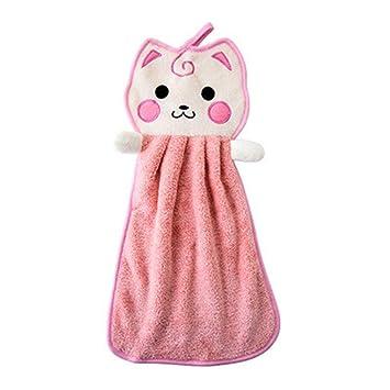 1 Unids Toalla de Cocina Infantil Vivero Toalla de Mano Suave Arco de la Felpa Animal Colgando Toalla de Baño Cocina Toalla de Secado Manual (Color: Rosa): ...
