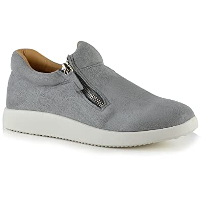 b1380a60907 Womens Fashion Sneakers Trainers Shoes Ladies Flexi Sole Casual Zip Pumps  Size 3-8