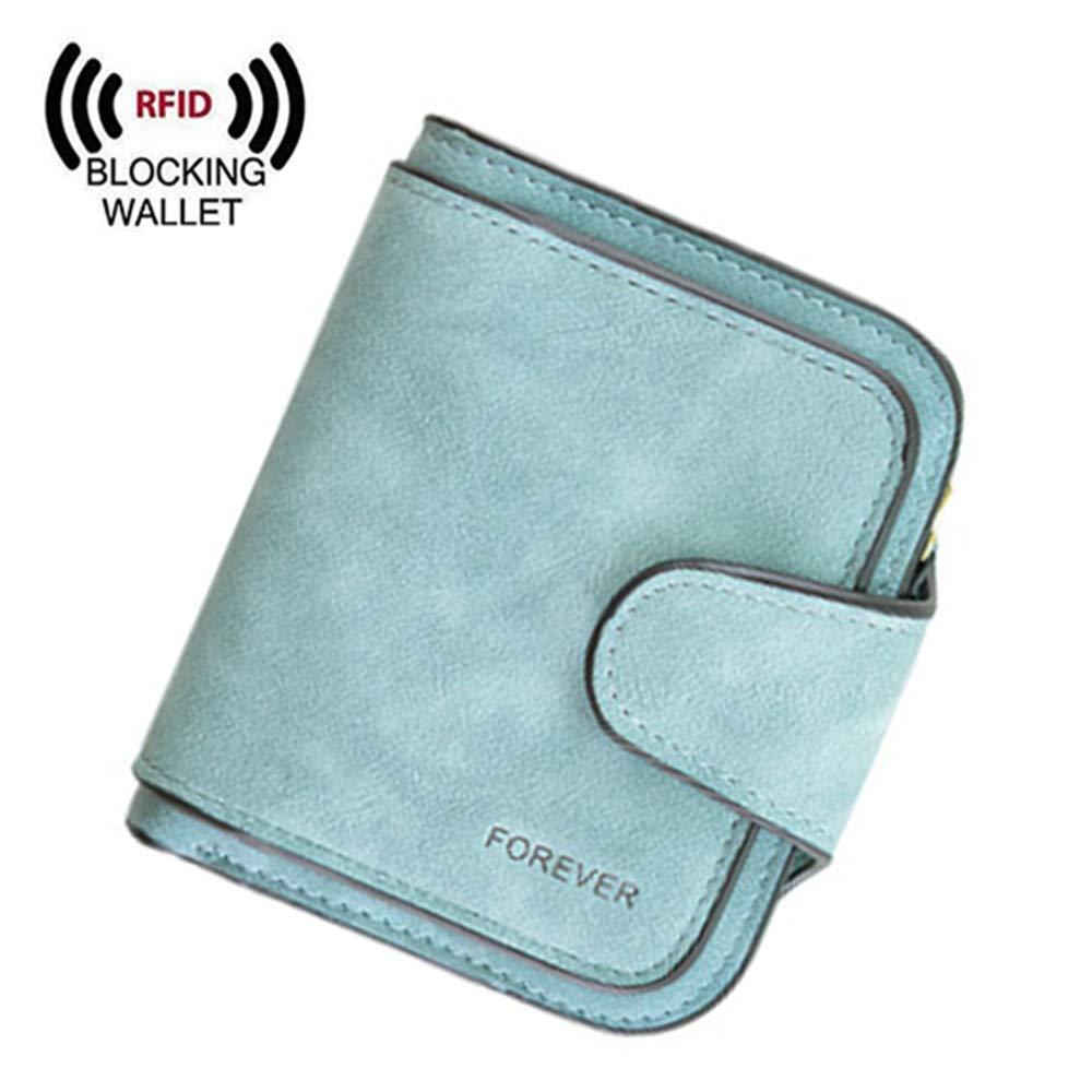 Women RFID Blocking Leather Small Bifold Wallet Card Holder Zipper Coin Pocket (Green)