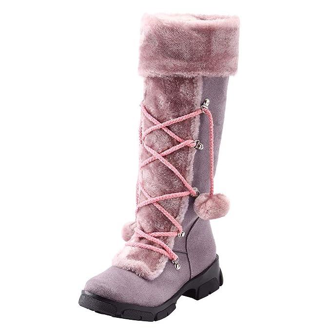 BaZhaHei-Zapatillas Mujer después de lijar con borlas Botas Altas Mangas Cuñas Zapatos de Nieve Calzado de Mujer después de lijar con borlas Botas Altas ...