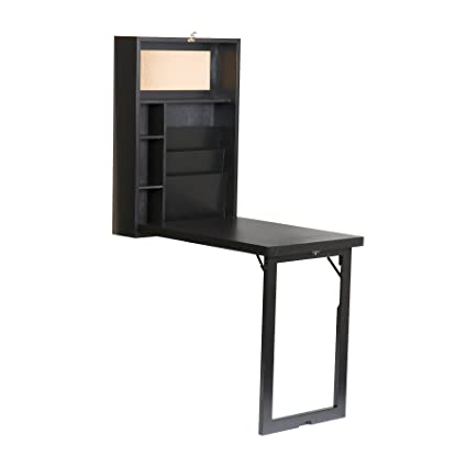 Southern Enterprises Fold Out Convertible Desk 22u0026quot; Wide, Black Finish