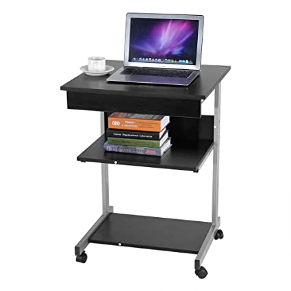 Amazon Com Wooden Computer Table Rolling Computer Desk 4 Wheels