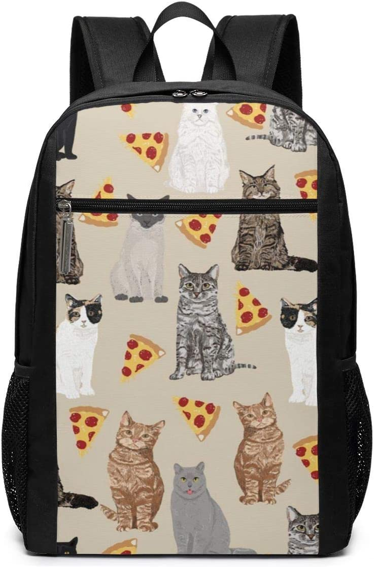 Black Water Resistant College School Computer Bag Gifts for Men Women ~ Pizza Cats Backpack Business Durable Laptop Backpack 17in X 12in X 6in