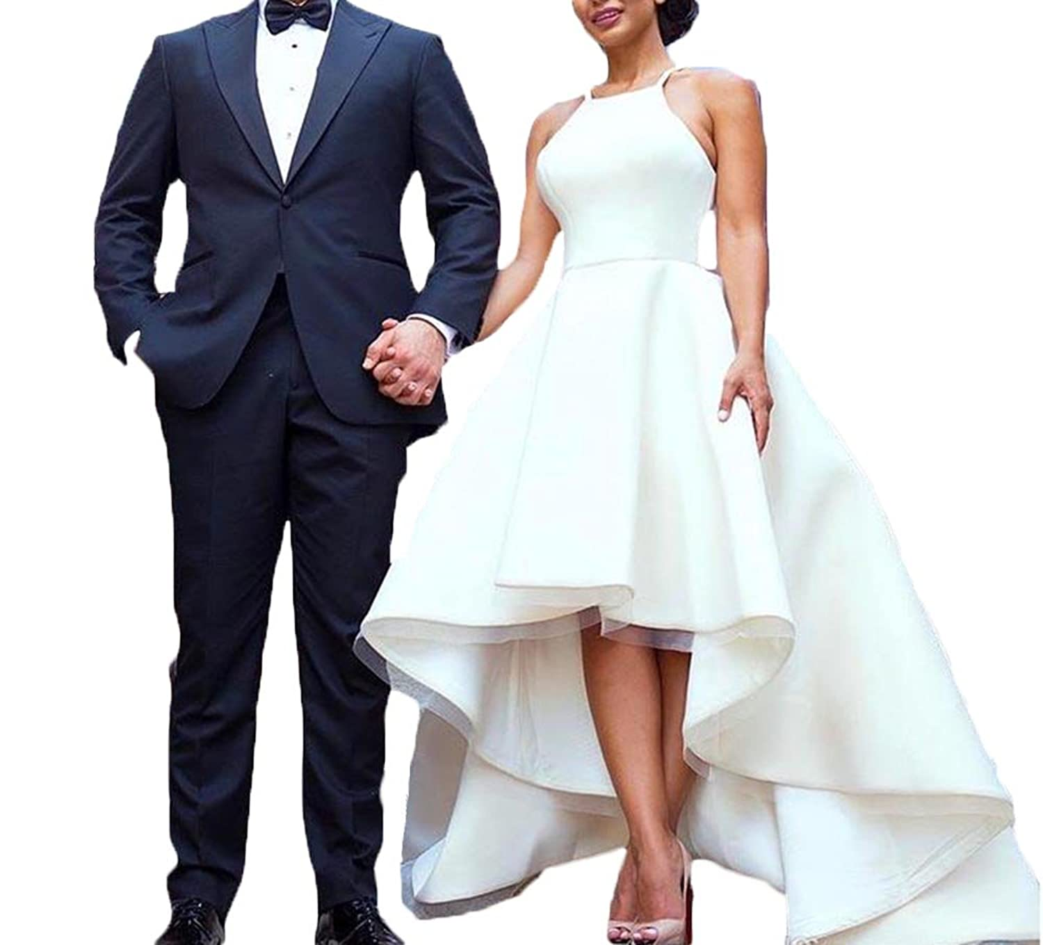 Homme High Low Vestidos De novia Satin Wedding Dress Ball Gown at Amazon Womens Clothing store: