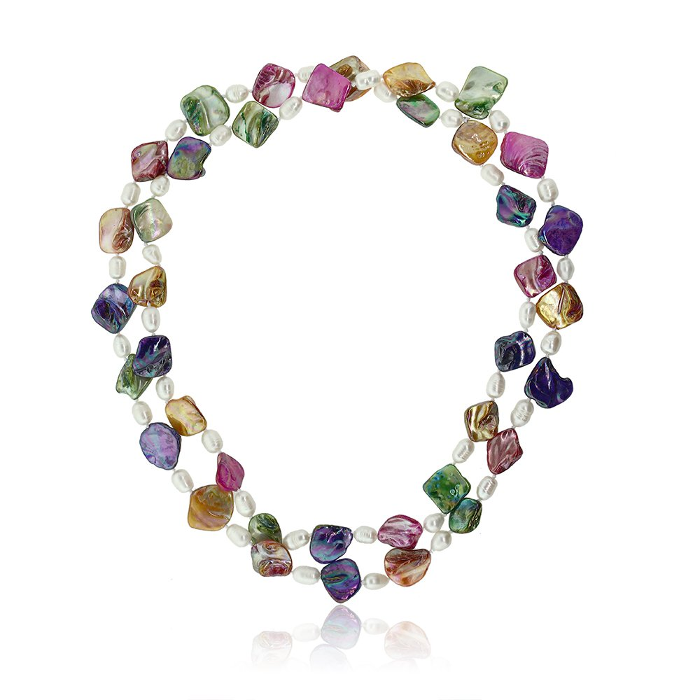 Gem Stone King 46inches Multicolor Cultured Freshwater Pearl & Simulated Shell Pearls Necklace by Gem Stone King