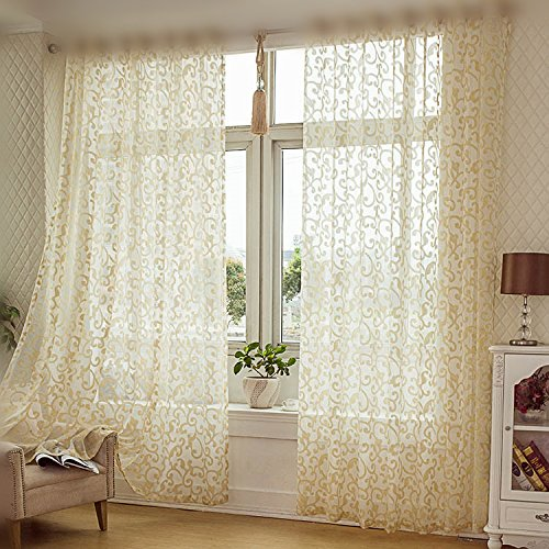 WPKIRA Home Decor Golden Hook Pattern Jacquard Drapes