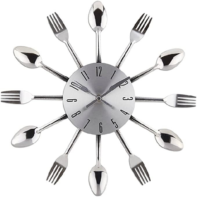 Reloj de pared de cuarzo Reloj de cocina efecto espejo con diseño de cuchara Cubiertos Cocina Tenedor y Cuchillo del Reloj de Pared / Reloj Decorativo Relojes de pared: Amazon.es: Hogar