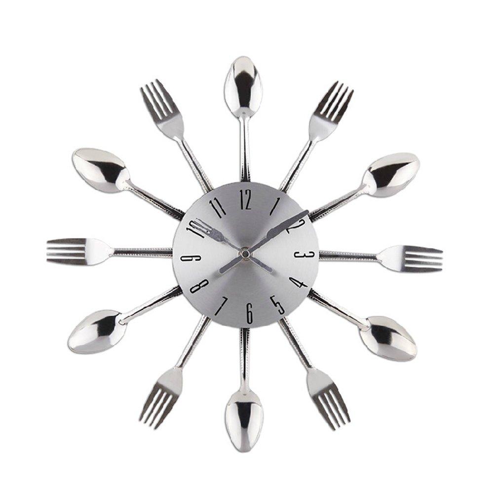 Reloj de pared de cuarzo Reloj de cocina efecto espejo con diseño de cuchara Cubiertos Cocina Tenedor y Cuchillo del Reloj de Pared / Reloj Decorativo ...