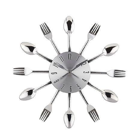 Reloj de pared de cuarzo Reloj de cocina efecto espejo con diseño de cuchara Cubiertos Cocina
