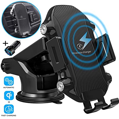 Wireless Car Charger,TECHRAME 10W Qi Fast Charging Auto Clamping Mount,Dashboard Air Vent Phone Car Holder Compatible iPhone 11/11 Pro Max/Xs MAX/XS/XR/X/8/8+,Samsung S10/S10+/S9/S9+/S8/S8+ (Black): Home Audio & Theater