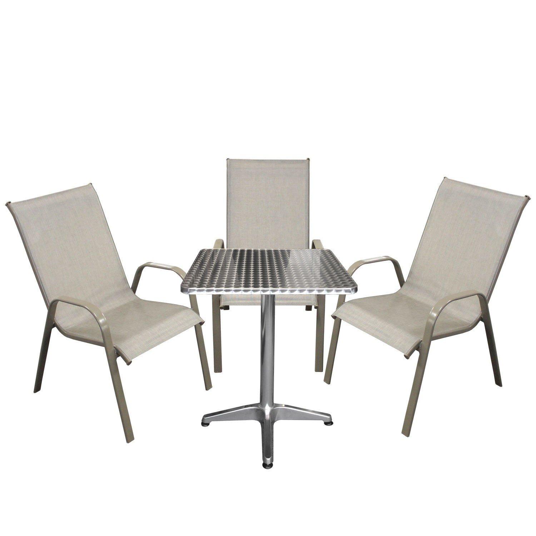 4tlg bistrogarnitur bistro set balkonm bel aluminium. Black Bedroom Furniture Sets. Home Design Ideas