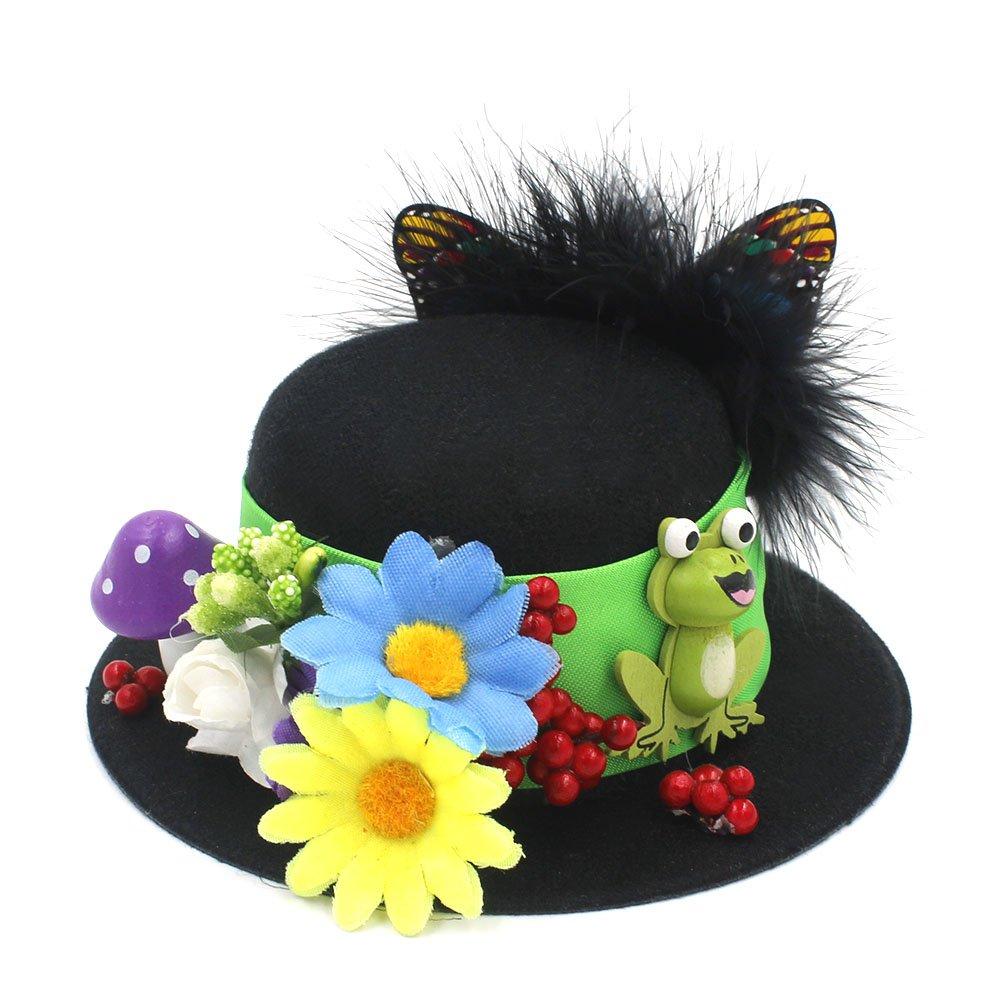 HYF Lavorazione Manuale delle Donne Nero Mini Top Cappelli Craft Fare Festa Fascinator Coccodrillo Clip di modisteria Fai-da-Te (Colore : Nero, Dimensione : Average)
