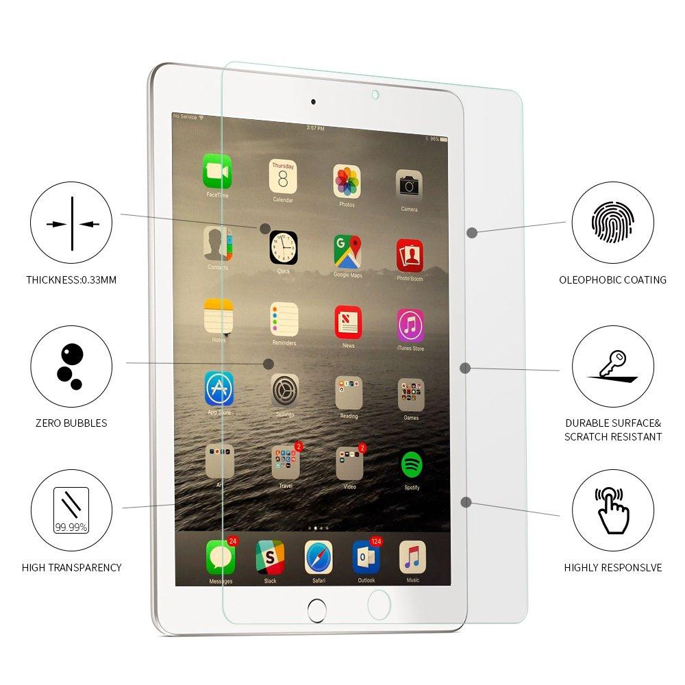 Tembin Tempered Glass iPad Screen Eye Protector for Apple iPad Air/iPad Air 2/iPad Pro 9.7inch/New iPad (2018) Shatter-Proof/Bubble-Free/Dust-Free/Full Coverage Screen Film