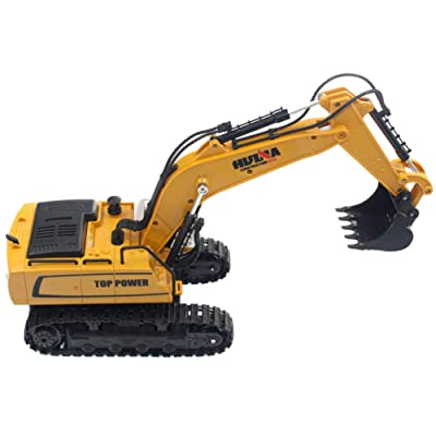 Elliot Jonah Remote Control Excavator Toys 2.4GHz 9-Channel Fully Functional Construction Tractor, Rechargeable RC Excavator Truck for Boys and Girls, Kids: Baby