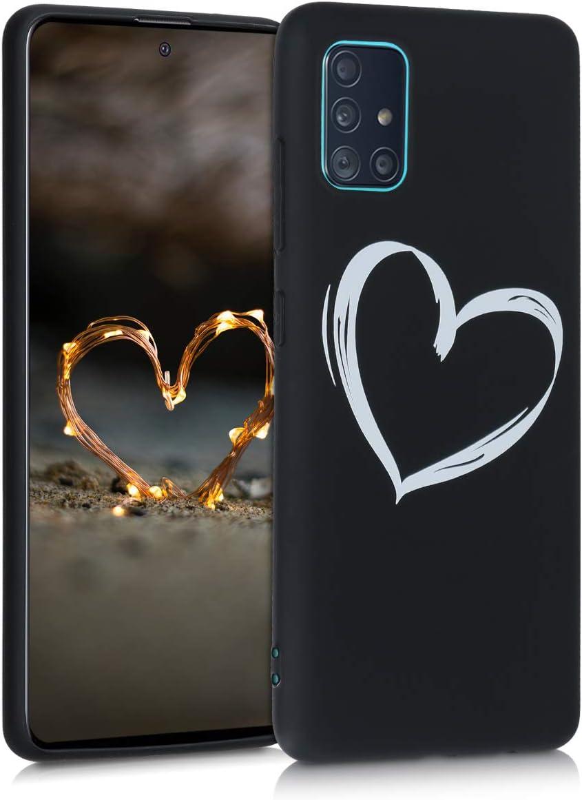 kwmobile Funda Compatible con Samsung Galaxy A51 - Carcasa de TPU Dibujo de corazón en Blanco/Negro
