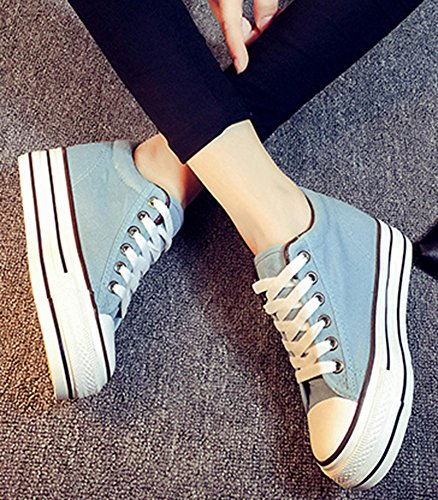 Idifu Womens Fashion Lage Top Lace Up Canvas Sneakers Verhogen Ronde Neus Platform Schoenen Meer Groen