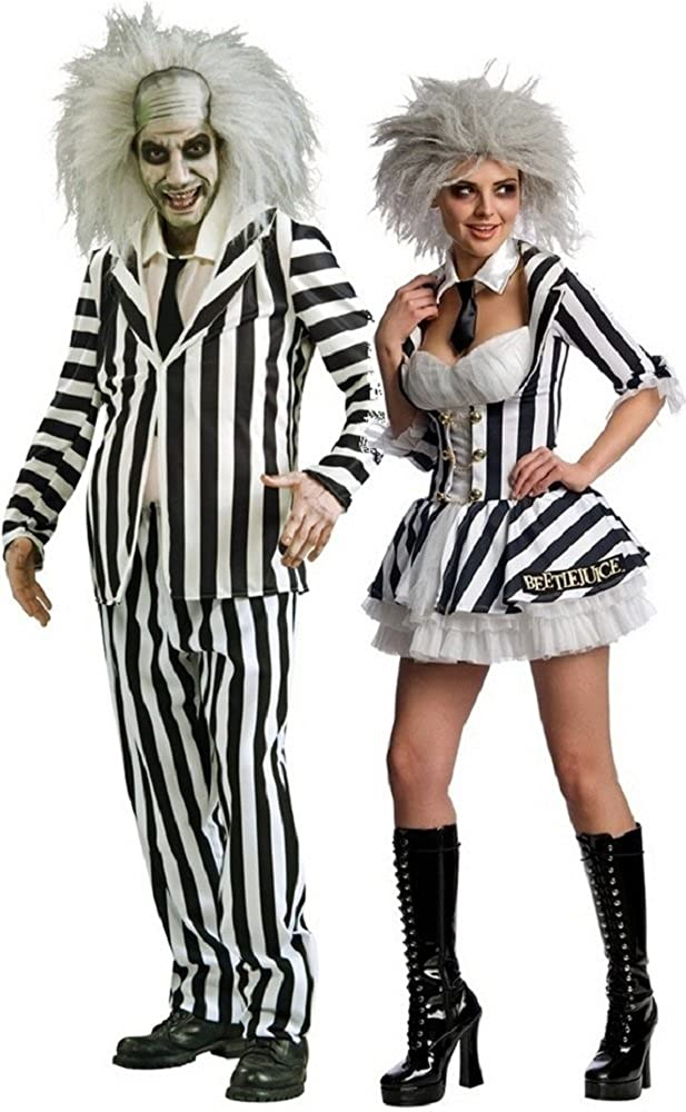 Amazon Com Mens Ladies Couples Fancy Dress Mr Miss Beetlejuice Halloween Horror Tv Film 1980 S 80 S Tim Burton Costumes Party Outfits Ladies Uk 16 18 Mens Std Black Clothing