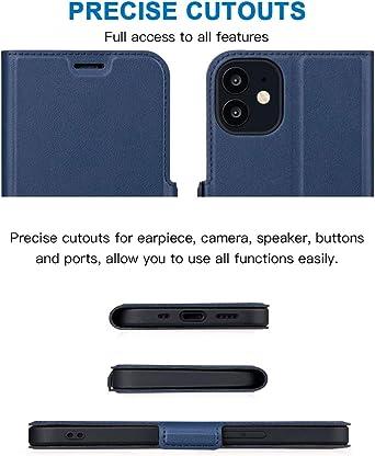 Aunote Étui portefeuille pour iPhone 12 Mini, iPhone 12 Mini - Coque pliable avec fente pour carte - Coque fine en cuir synthétique - Protection ...