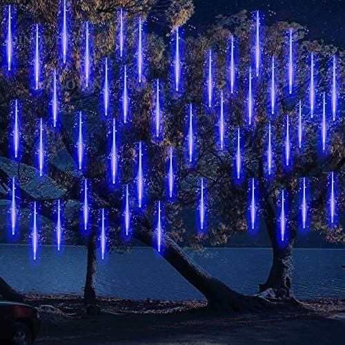 LED Meteor Regen Lichter Außen lichterkett,DINOWIN Solar wasserdichte Lichterketten 30cm 10 Tube 360LEDs, kaskadierende Lichter für Feiertags-Party-Hochzeits-Weihnachtsbaum-Patio-Dekoration (Blau)
