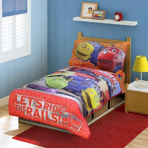 Chuggington Toddler Bedding Set - 4pc Ride Rails Comforter Bed Set by The Betesh Group (Image #1)