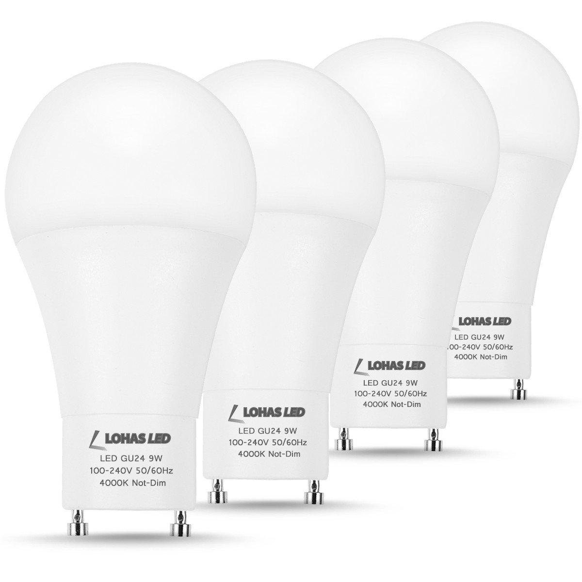 LOHAS GU24 Base LED Bulb A19, 60W Light Bulb Equivalent(9W LED), GU24 4000K Bulbs Natural Cool Daylight, 810 Lumens, Not Dimmable, No GU24 Adapter Needed, 120V, Energy Saving Lighting Bulb(Pack of 4)