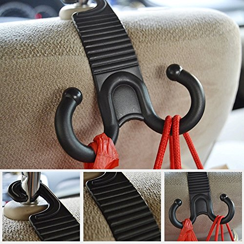 Lipctine Car Back Seat Headrest Hanger Holder Hooks for Purse Grocery Bag Hat Cloth Coat Universal Vehicle Trunk Storage Organizer Purse Hook Drop Gadget Car Accessories