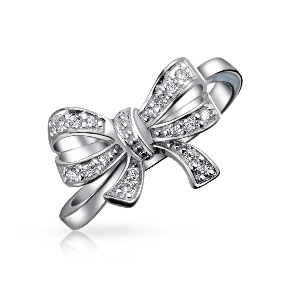 Bling Jewelry CZ Ribbon Bow Sterling Silver Ring HSH-HSR13831