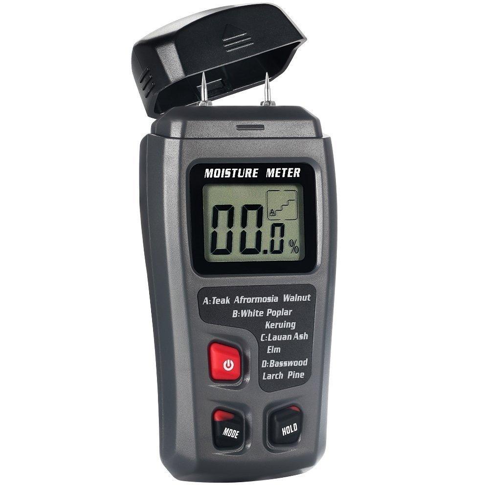 Digital Moisture Meter, LIUMY ± 0.5% Accuracy Wood Moisture Meter with 2 Pins / 4 Types of Wood Species / Portable LCD Display Moisture Detector (ABS plastic)