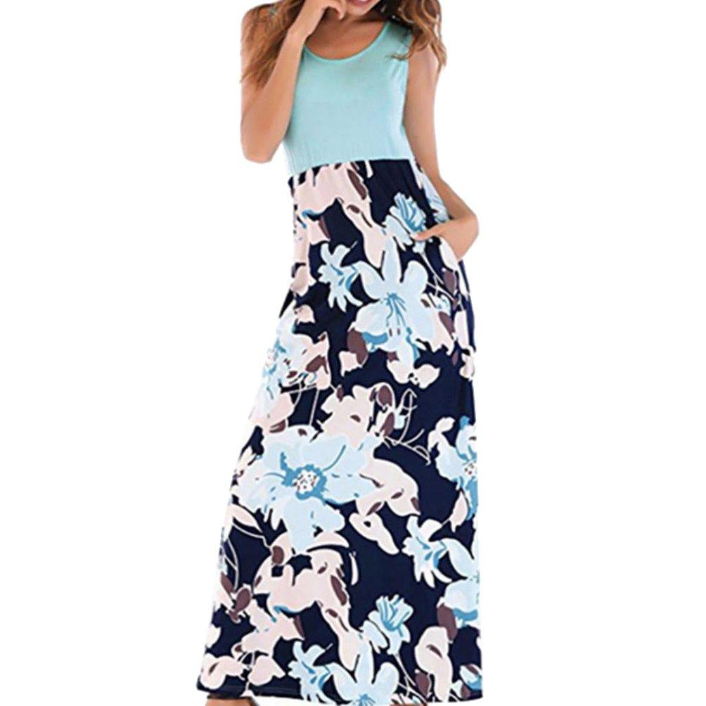 485e1d9548427a Amphia Kleider Damen Blumen Kleid Elegant Langarm Maxikleid Floral Print  Böhmischen Strand Maxi Kleid Casual: Amazon.de: Bekleidung