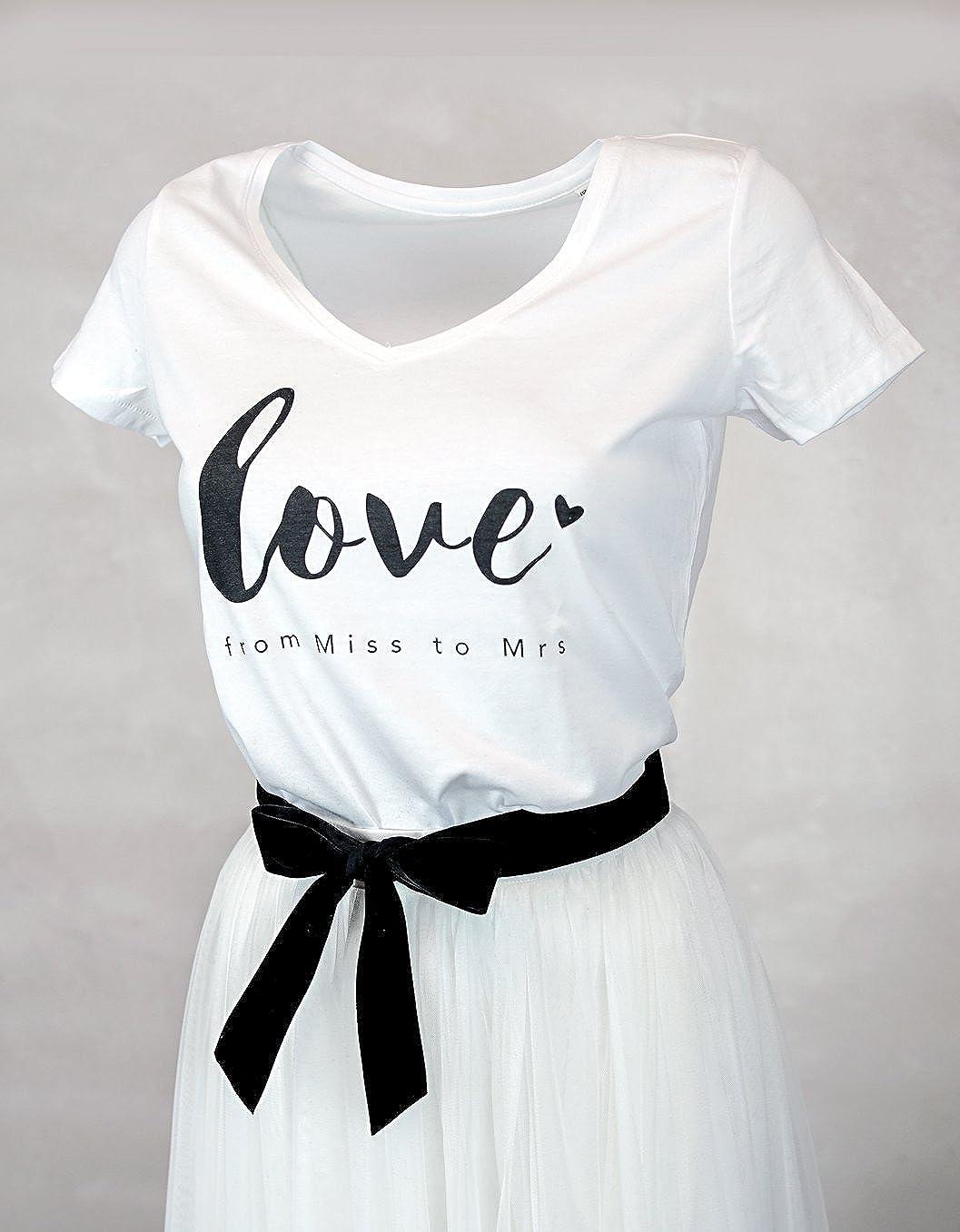 Constant Love/® Damen T-Shirt Braut Love from Miss to Mrs Offwhite Warm Wei/ß Junggesellen Abschied Flitterwochen Hochzeit Standesamt Outfit