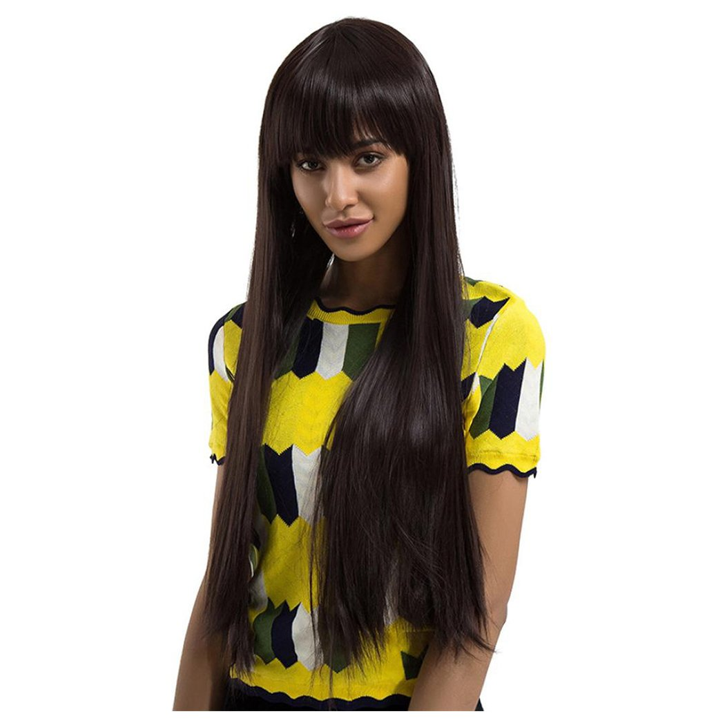Inkach Long Straight Wigs - Black Womens Synthetic Hair Wig with Neat Bang Natural Looking Full Wigs (Black)