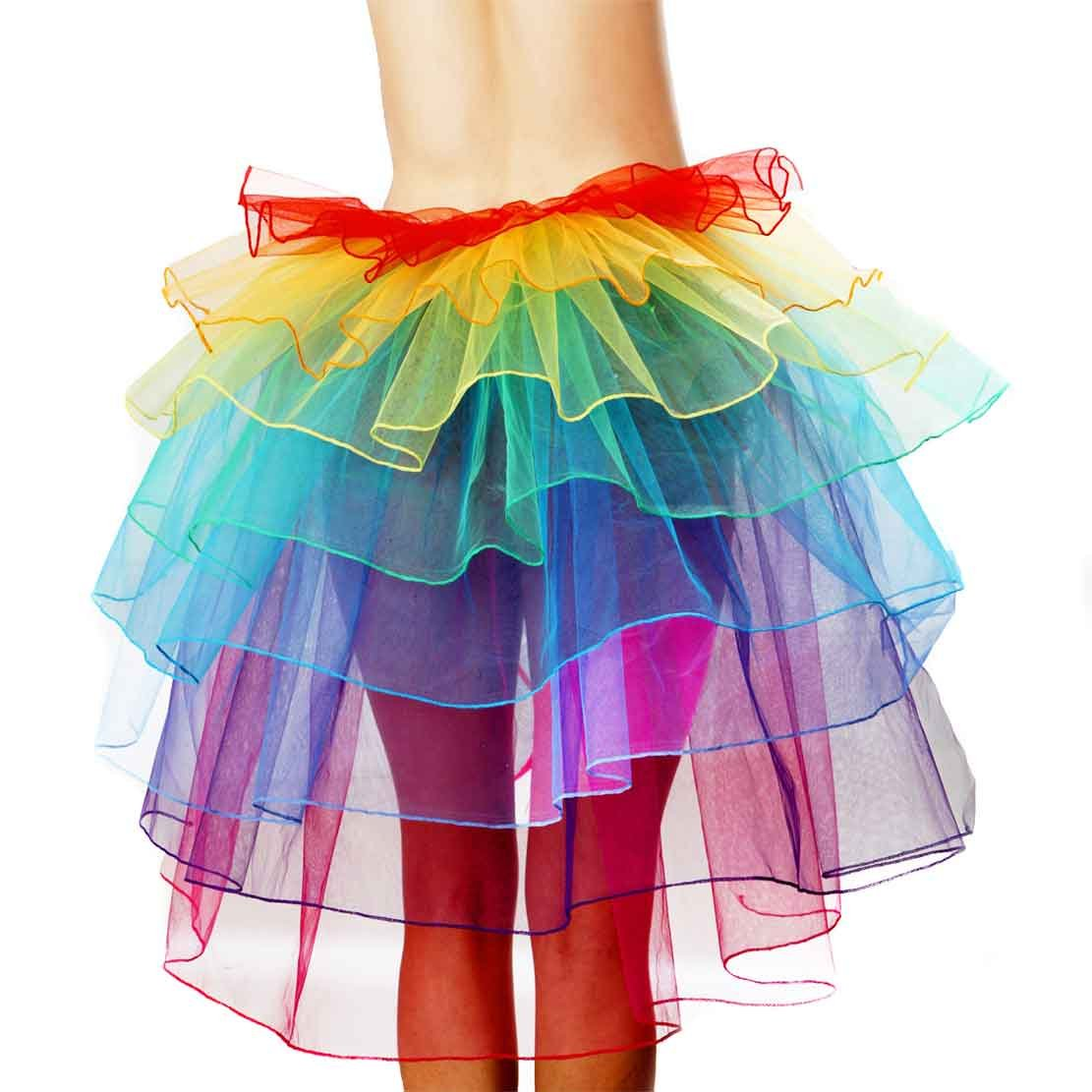 Women's Rainbow Wave Wig Long Gloves Socks 8Layered Tail Tutu Skirt Floral Headband Set (B) by ECOSCO (Image #2)