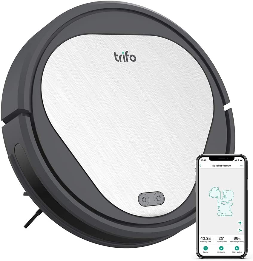 Trifo Emma Robot Vacuum Cleaner, 3000Pa Super-Strong Suction, Best for Pet Hair, 90-Minute Runtime, Wi-Fi Connectivity, Compatible with Alexa, Carpets, Hard Floors, Tile, Self-Charging,Black