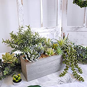 "besttoyhome 4 Pcs Artificial Rosemary Plants Fake Rosemary Greenery Leaves Bushes Evergreen Shrubs Spray in Green - 9.85"" Tall UV Protected Fake Shrubs Grass for Indoor Outdoor Greenery Decor 6"