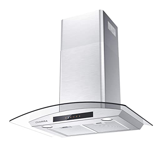 Glass Vent Hood, CIARRA 30 inch 450 CFM Kitchen Stove Range Hood with 3  Speed Exhaust Fan, 2 Dishwasher Safe Mesh Filters, Touch Control for ...