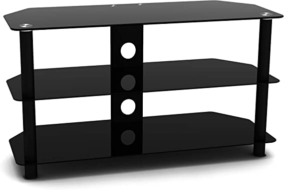 Techlink Dais 90 - Mueble de TV para salón con estantes de Cristal Negro para Pantallas de hasta 50 Pulgadas, Samsung, Sony, LG, Panasonic y más, Acabado en Negro Brillante: Amazon.es: Electrónica