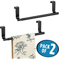 """mDesign Adjustable, Expandable Kitchen Over Cabinet Towel Bar Rack - Hang on Inside or Outside of Doors, Storage for Hand, Dish, Tea Towels - 9.25"""" to 17"""" Wide"""