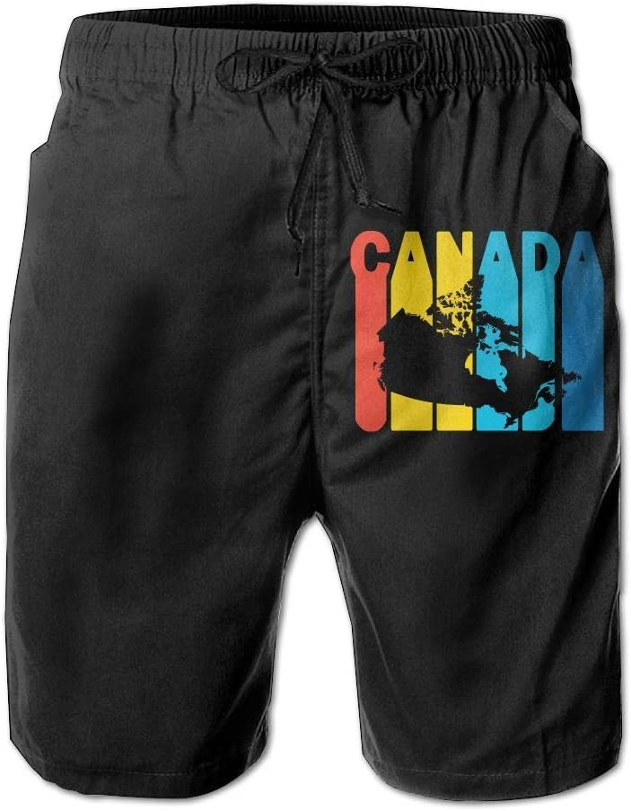 Canada Retro 1970s Style Mens Fashion Board//Beach Shorts Summer Casual Swim Trunks with Pockets