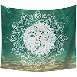 Psychedelic Tapestry,Moon and Sun with Many Fractal Faces Celestial Energy Mystic, Wall Hanging for Bedroom Living Room Dorm (W:59'H:78', 9)