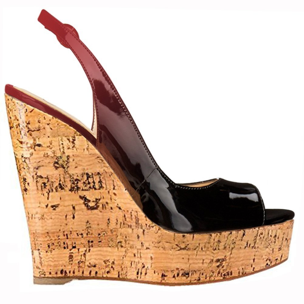 Mermaid Women's Shoes Peep-Toe Heeled Patent Leather Sling-Back Wedge Heeled Peep-Toe Platform Sandals B07D5ZP1QB US14 Feet length 11.35