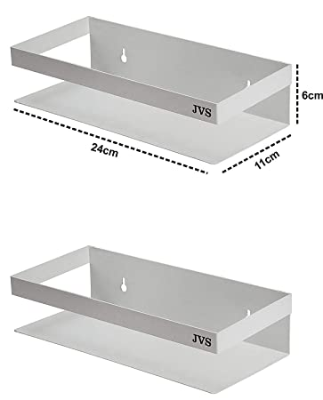 Jvs New Bathroom Storage Set Of 2 Wall Shelf 10 With High Quality Stainless Steel Material In White Color Amazon In Home Improvement