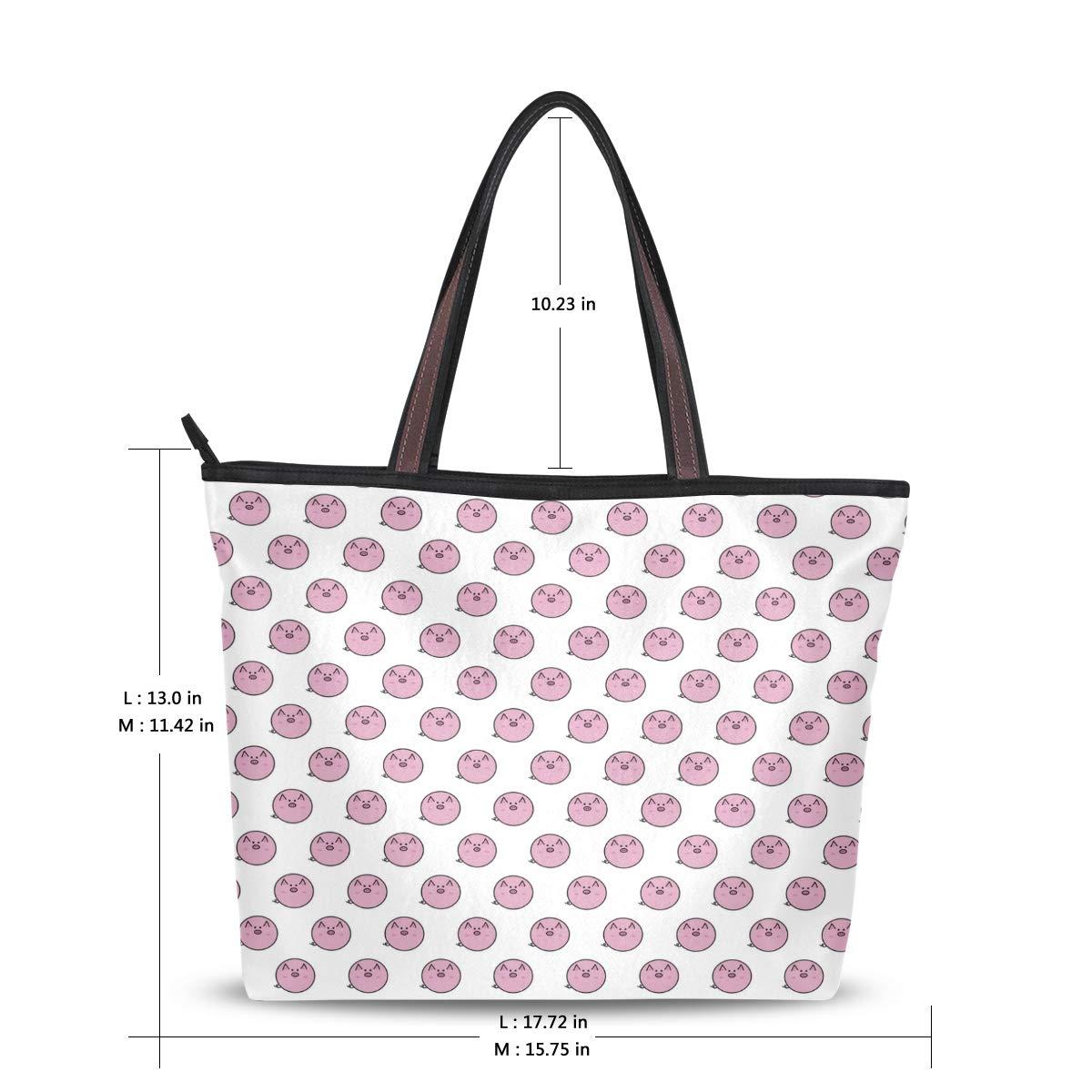 Women Handle 2019 Happy Pig Pink Satchel Handbags Tote Purse Shoulder Bag Big Capacity Handbag