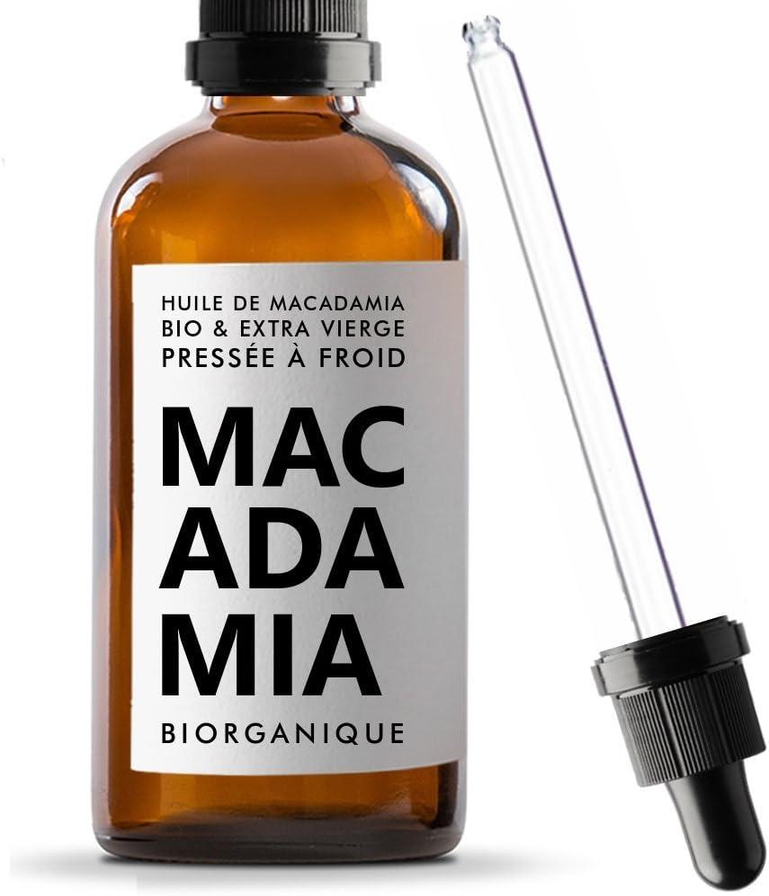 Biorganique - Aceite de macadamia 100% orgánico, puro y natural, para masaje y cuidado de cuerpo/piel, 100 ml
